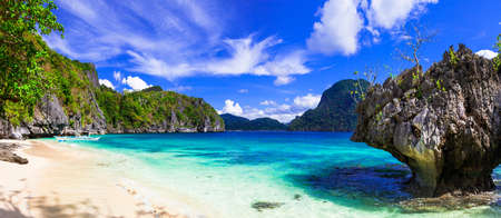 Incredible nature, azure sea and rocks in El Nido, Philippines. Stock Photo