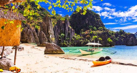 Panoramic view of El Nido, Philippines.azure sea and fishing boats. Stock Photo