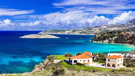 Beautiful village Almyrida, Crete island, Greece.