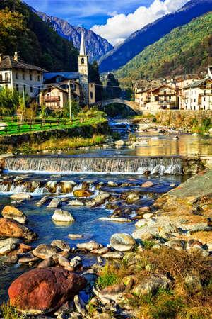 Pictorial Lillianes village, Valle d'Aosta, Italy.