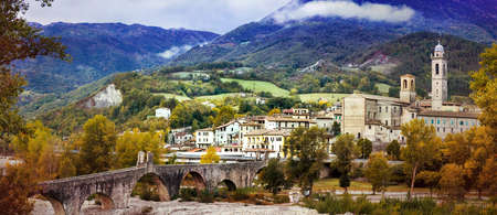 Beautiful Bobbio village, panoramic view, Italy.