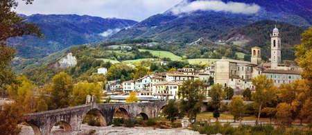 jorobado: Beautiful Bobbio village, panoramic view, Italy.