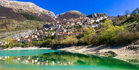 Panoramic view of Barrea village and lake, Abruzzo, Italy.