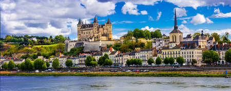 Panoramic view of Saumur village and castle, Loire valley, France.