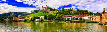 bayern old town: Panoramic view of Wurzburg town, Germany.