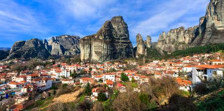 Beautiful Kalambaka village, panoramic view, Greece.