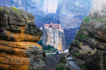 Impressive Meteora monastery, Greece, panoramic view. Stock Photo