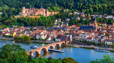 Panoramic view of Heidelberg medieval town, Germany.