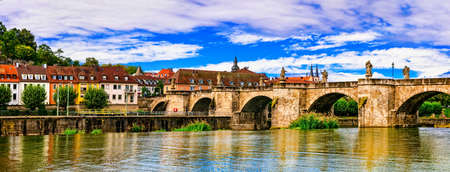 bayern old town: Beautiful Wurzburg medieval town, panoramic view, Germany. Stock Photo