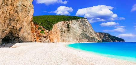 인상적인 포르토 Katsiki 비치, Lefkada 섬, 그리스. 스톡 콘텐츠