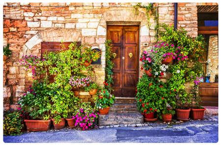 Old streets of Italy, Spello village, Umbria, Italy. Stock Photo