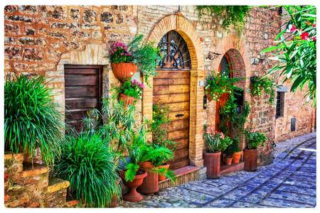 Oude straten van Italië, Spello-dorp. Umbria.