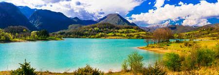 Incredible nature in the mountains, view with Castel San Vincenzo Lake, Molise, Italy.