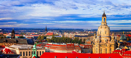 Beautiful Dresden town, panoramic view, Germany. Stock Photo