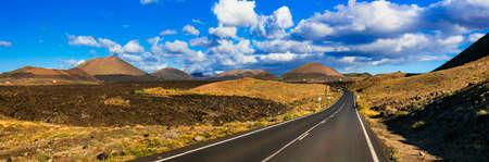Impressive volcanic landscape, Lanzarote, Canary, Spain. Stock Photo