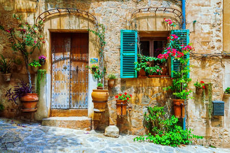 Old streets of medieval village, Spello, Umbria, Italy. Banco de Imagens