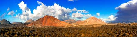 Impressive volcanic landscape, Lanzarote island, Canary, Spain.