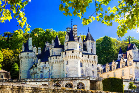 Magnificent Usse castle, panoramic view, Loire valley, France.