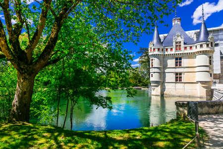 Medieval Azay-le-Rideau castle, Loire valley, France.