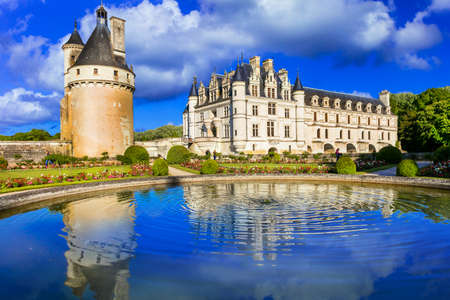 Beautiful Chenonceau medieval castle, Loire valley, France. Editorial