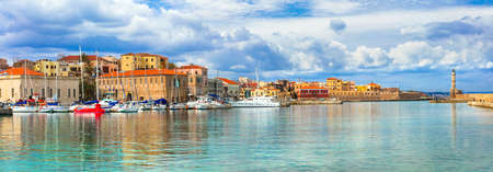 Colorful Chania town, Crete island, Greece. 스톡 콘텐츠