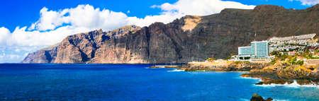 Unique rocks in Los Gigantes, Tenerife island, Spain. Stock fotó