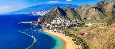 PLaya de la Teresitas, panoramic view, Tenerife island, Spain. 스톡 콘텐츠