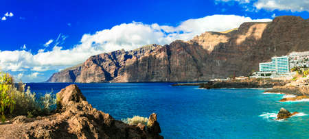 Impressive Los Gigantes, panoramic view, Tenerife island, Spain. Stok Fotoğraf