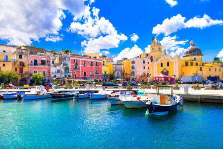 Traditional Procida village, view with colorful houses, Campania, Italy. Imagens
