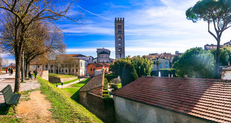 Medieval Lucca town, Italy, view with park and church. Фото со стока