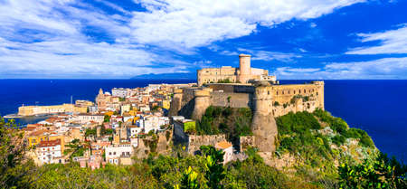 Impressive Gaeta town, view with houses and castle, Lazio, Italy. Reklamní fotografie