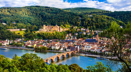 Impressive medieval Heidelberg town, panoramic view, Germany.