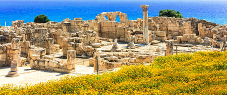 Ancient archeological Kourion site, view from the ancient ruins and sea, Cyprus island.