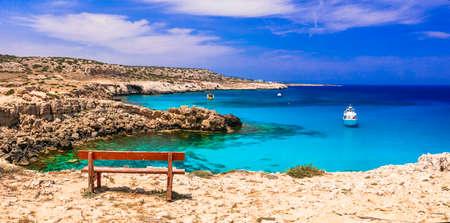 Azure sea and unique rocks, Blue Lagoon, Cape Greko natural park, Cyprus.