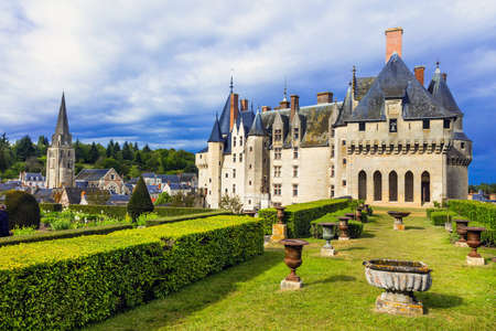 Beautiful medieval castle, view with park, France.