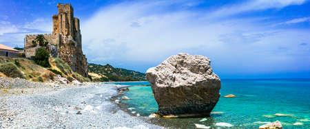 Azure sea unique rocks and medieval castle, Roseto Capo Spulico, Cosenza, calabria, Italy.