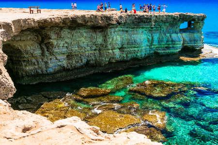 Azure sea and unique rocks in Cape Greco, Cyprus island. Editorial