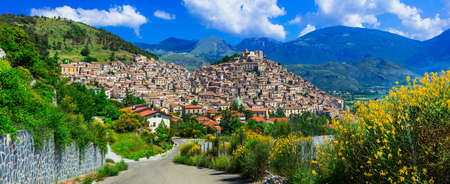 Beautiful Morano Calabro village, streets with traditional houses and mountains, Calabria, Italy.