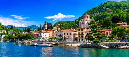 Impressive Laveno Monbello village, view with Lake Maggiore, North Italy.