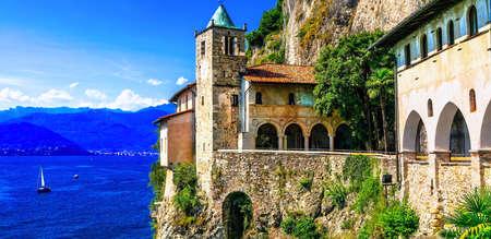 Impressive Hermitage Santa Caterina dal Sasso, Lake Maggiore, North Italy.