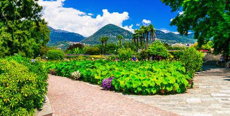 Famous Villa Taranto, view with gardens, Lake Maggiore, North Italy.