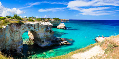 Unique rocks and tourquise sea, Torre di Sant andrea, Puglia, Italy .. Stock Photo