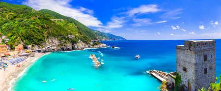 Beautiful Monterosso al mare, old castle and sea view, Liguria, Italy. Editorial