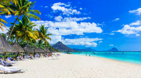 Beautiful beach in Mauritius Island, Flic en Flac.