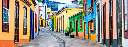 Traditional colorful houses in Los Llanos de Aridane village, La Palma, Spain