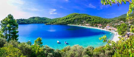 Hermosa isla de Skopelos, vista panorámica, Espóradas, Grecia Foto de archivo