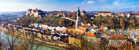 Impressive Burghausen village view with old castle and traditional houses, Bavaria, Germany