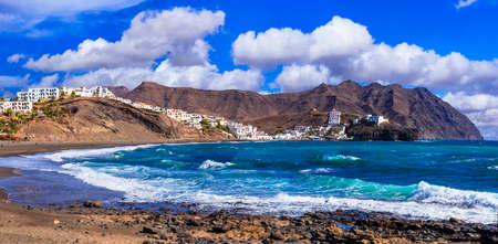 Impressive Las Playitas village, panoramic view, Fuerteventura island, Spain Banco de Imagens