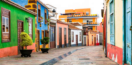 Traditional colorful houses in Los Llanos de Aridane village, La Palma, Spain.