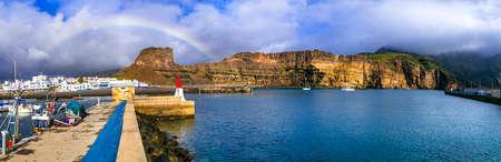 Impressive Puerto de Las Nieves village, panoramic view, Gran Canaria, Spain